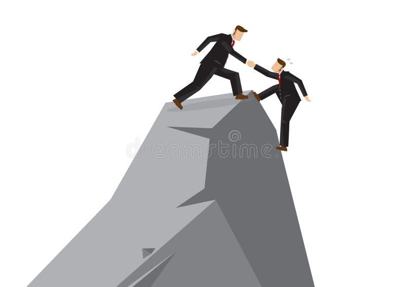 帮助别的商人到达峭壁的上面 Busi 皇族释放例证