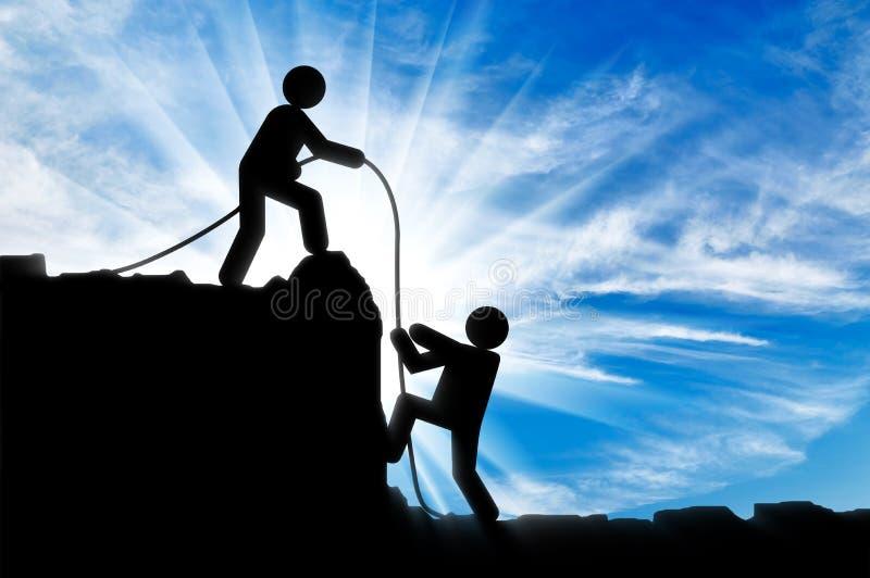 帮助另一个人登山人的人的象登山人 库存例证