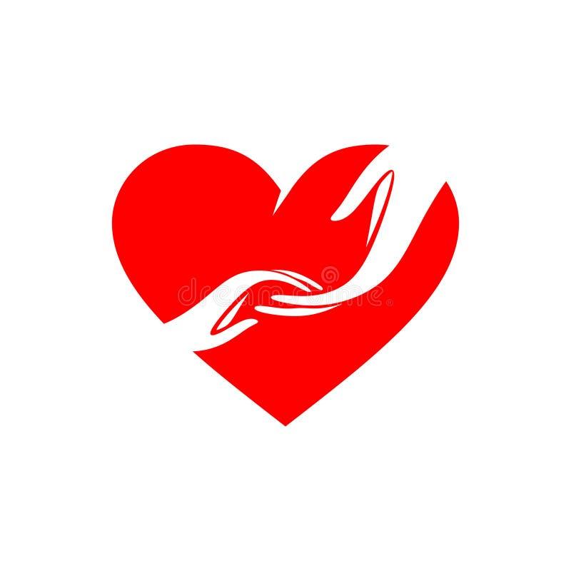 帮助孩子,成人的手为儿童的手到达在大心脏 库存例证