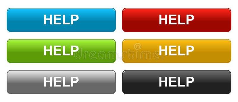 帮助网按五颜六色在白色 库存例证