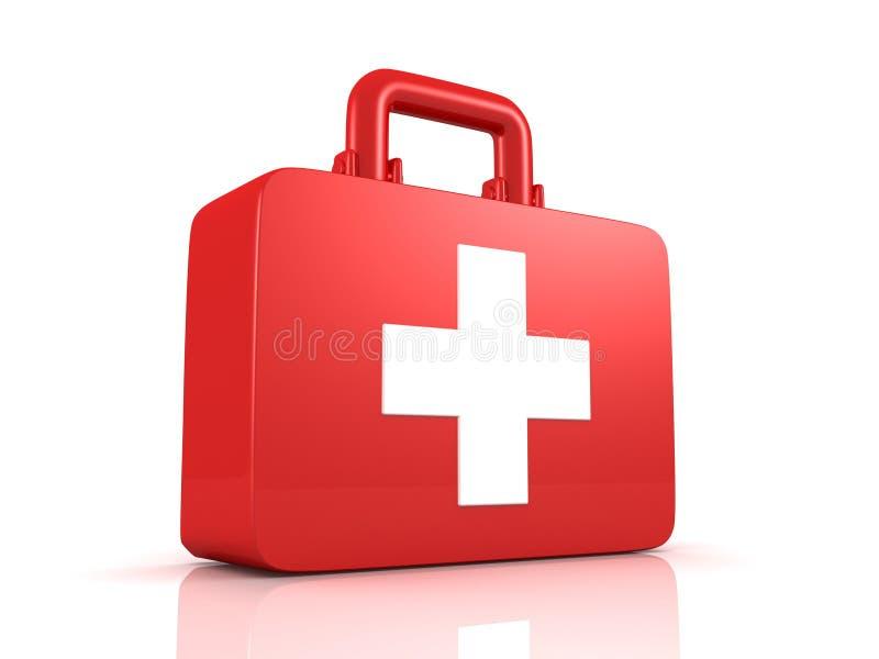 帮助配件箱交叉第一个工具箱医疗白色 库存图片