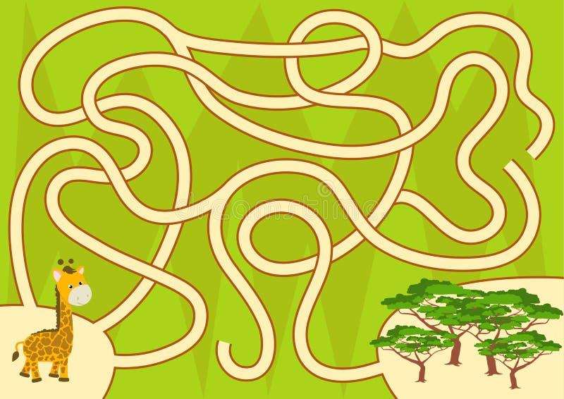 帮助长颈鹿回到孩子的森林迷宫比赛 皇族释放例证