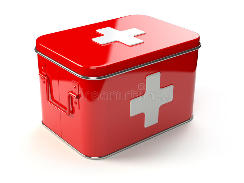 帮助首先查出的工具箱白色 皇族释放例证