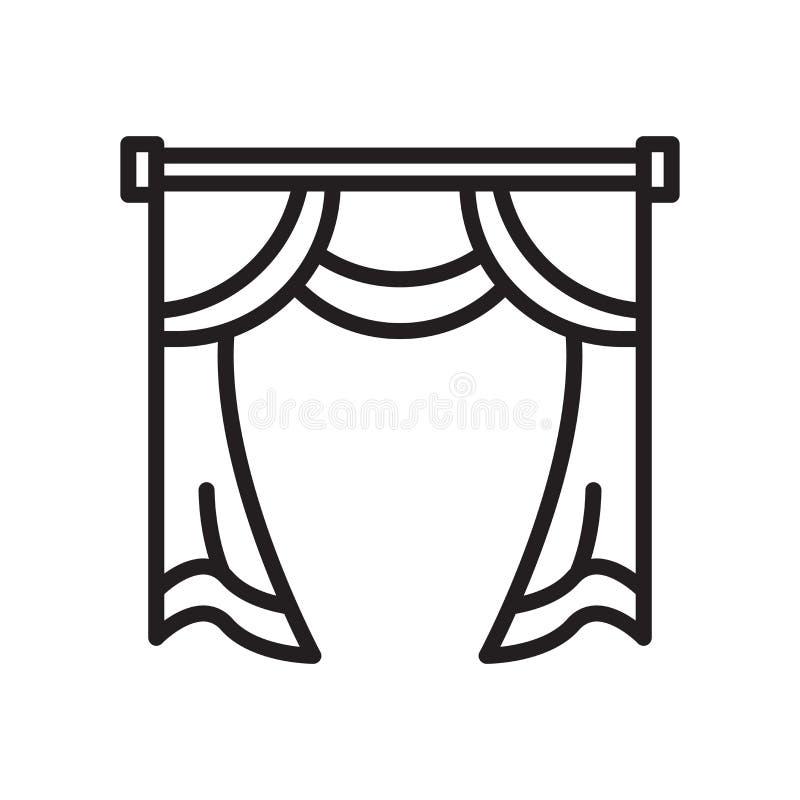 帷幕象在白色背景和标志隔绝的传染媒介标志 库存例证