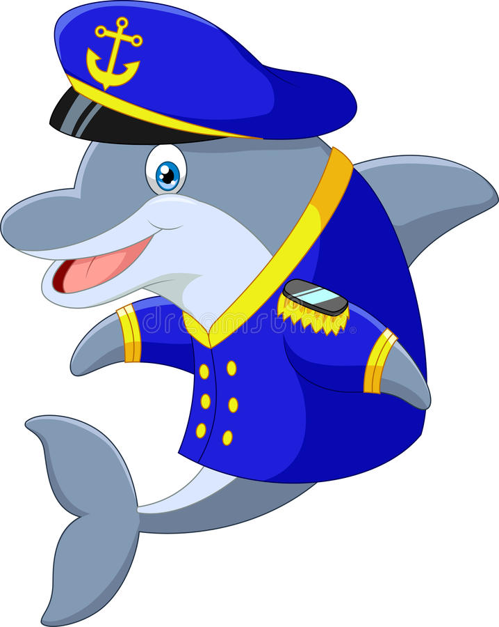 常设一点动画片海豚使用一致的上尉 皇族释放例证