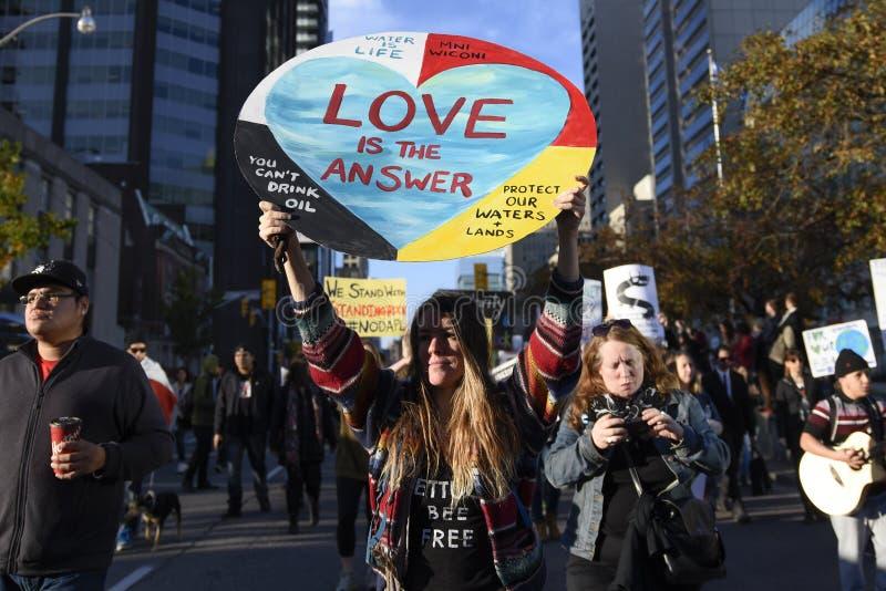 常设岩石抗议在多伦多 免版税库存照片