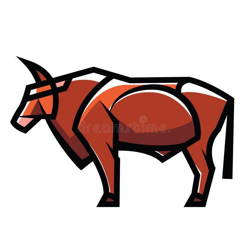 常设自然颜色公牛 向量例证