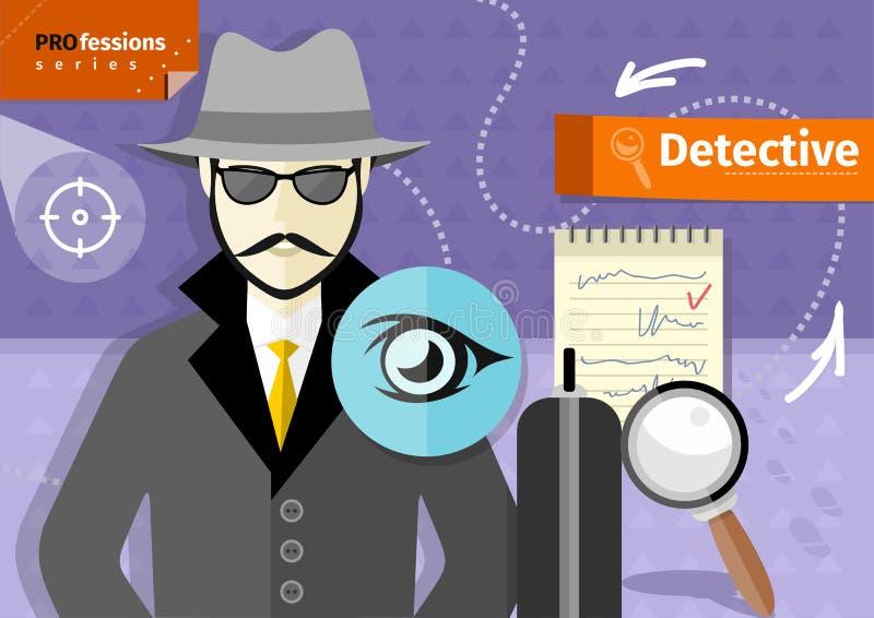 帽子、外套和太阳镜的男性探员 皇族释放例证