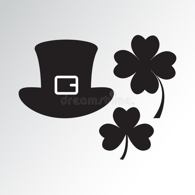 帽子和三叶草从圣帕特里克节 r 皇族释放例证
