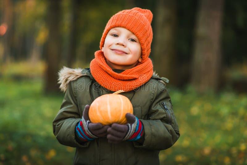 帽子和围巾的男孩用南瓜 库存照片