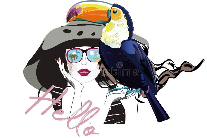 帽子和太阳镜的美丽的时尚女孩有她的宠物的,toucan 库存例证
