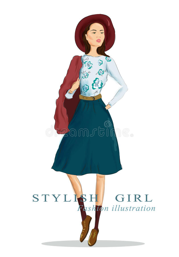 帽子和时尚衣裳的图画妇女 时髦美丽的女孩 也corel凹道例证向量 库存例证