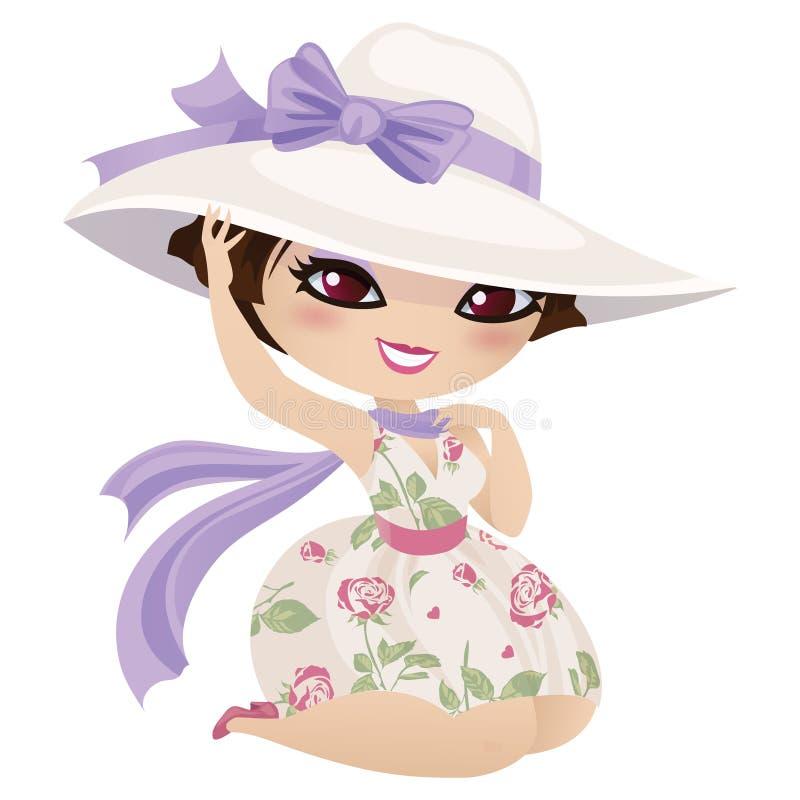 帽子和围巾的俏丽的女孩 皇族释放例证