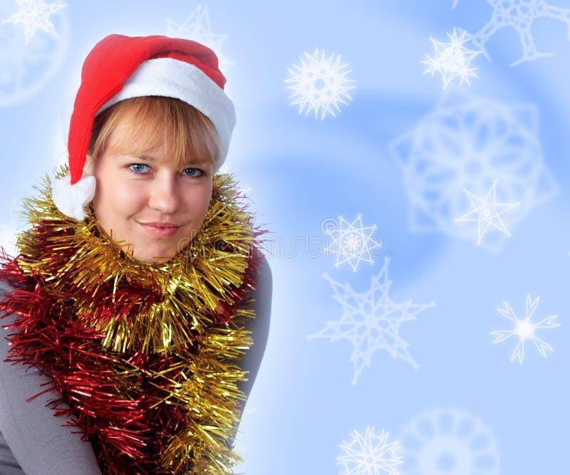 帽子圣诞老人佩带的妇女 免版税图库摄影