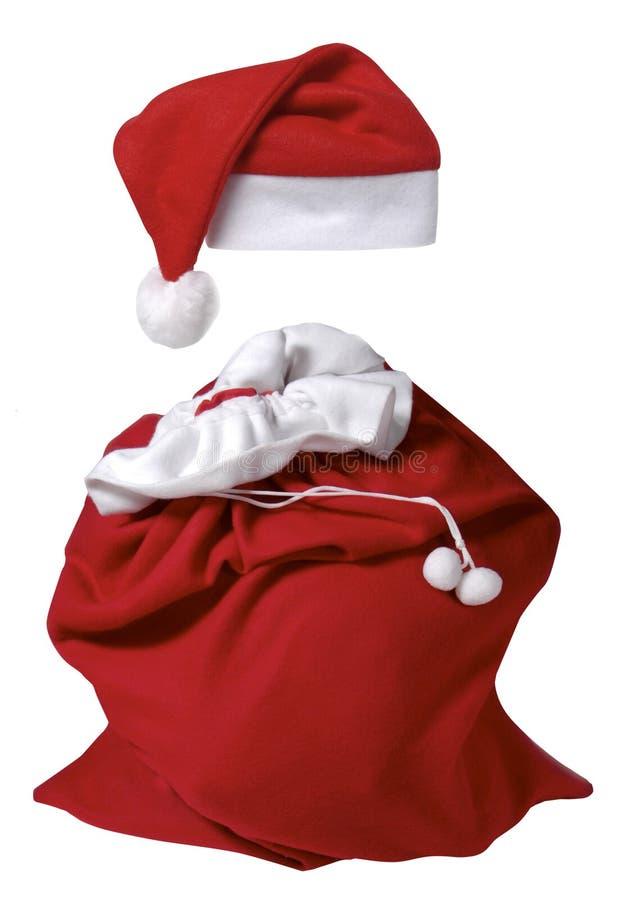 帽子大袋圣诞老人 免版税库存照片