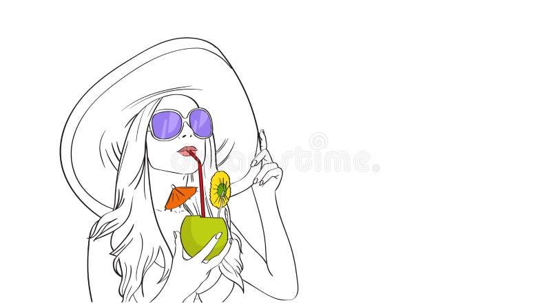 帽子太阳镜饮料鸡尾酒剪影的妇女 向量例证