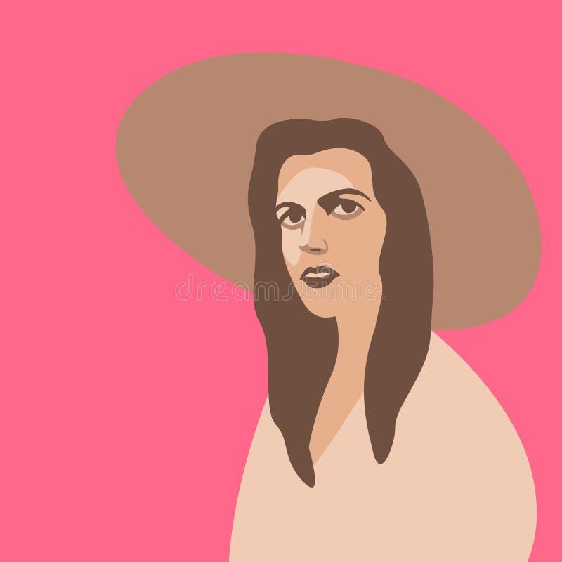 帽子平传染媒介的例证的性感的美丽的妇女 皇族释放例证