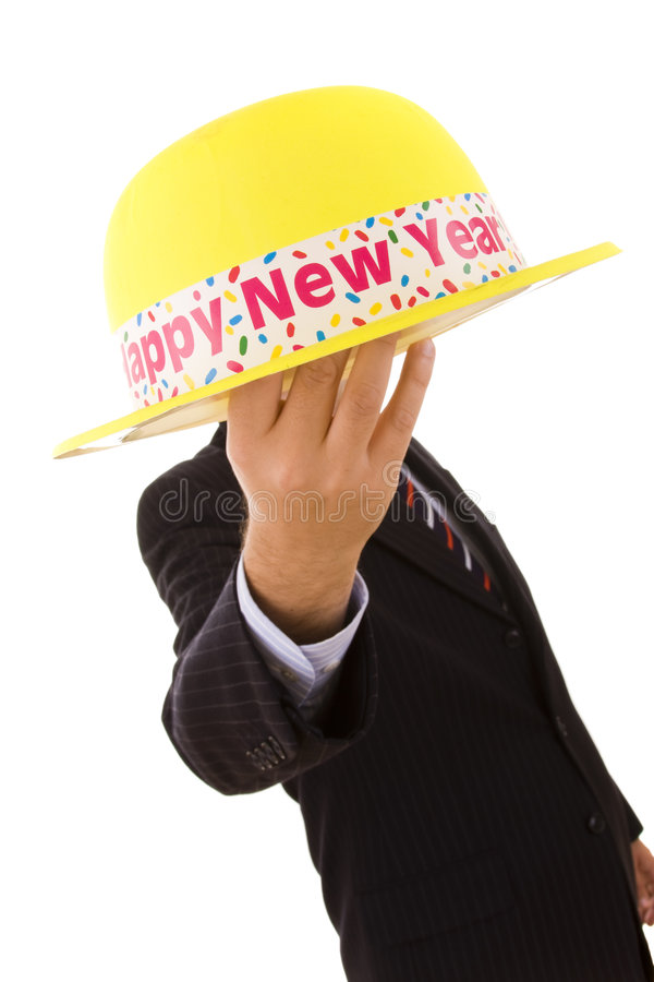 帽子新年度黄色 库存照片