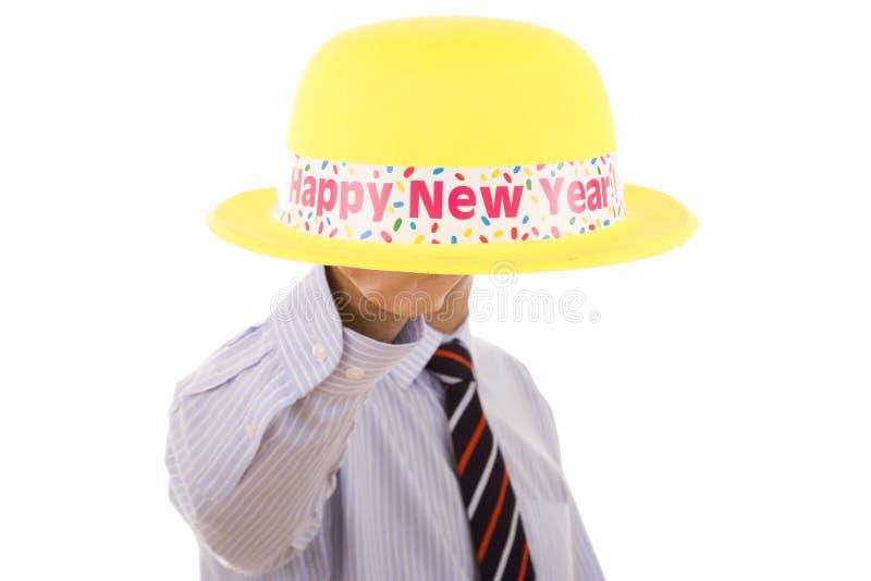 帽子新年度黄色 免版税库存照片