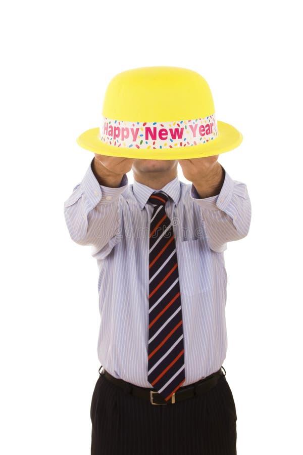 帽子新年度黄色 免版税库存图片