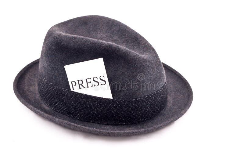 帽子新闻记者照片新闻 图库摄影