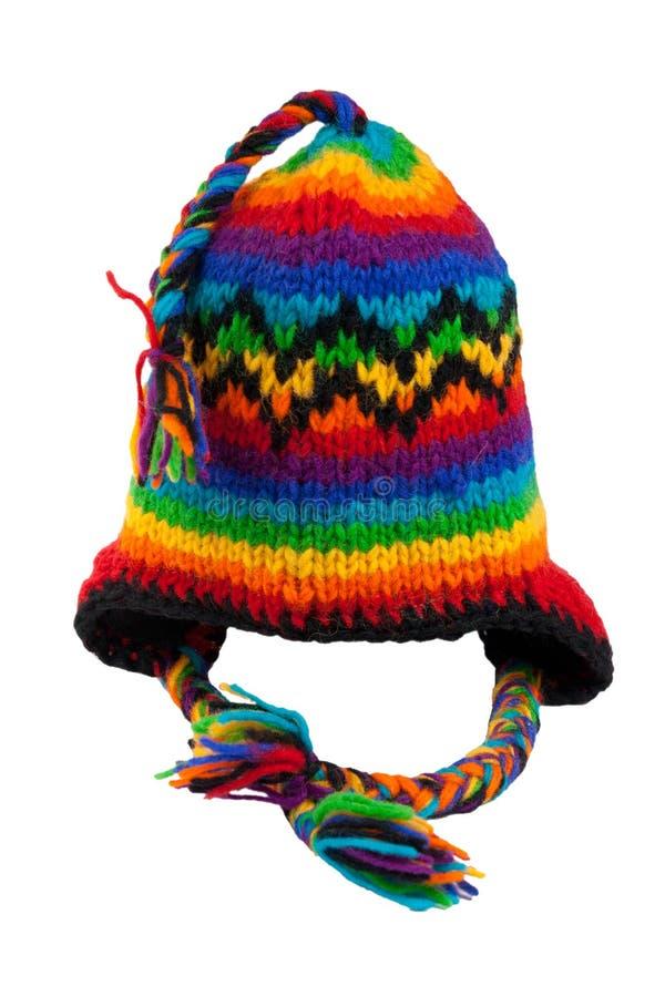 帽子查出的被编织的围巾镶边温暖 免版税库存照片