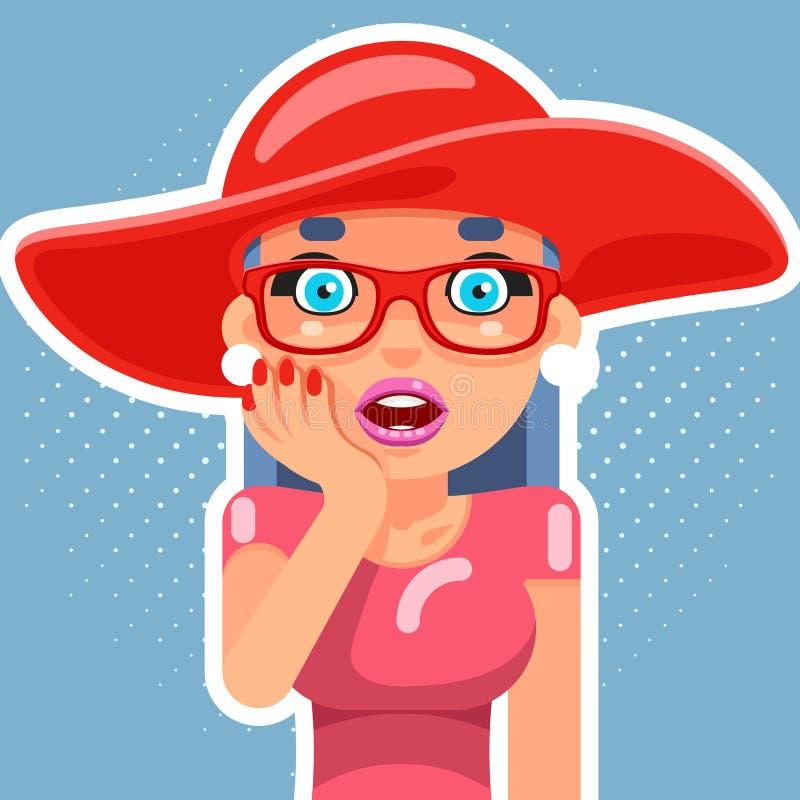 帽子流行艺术销售逗人喜爱的惊奇的女性女孩妇女手棕榈面孔漫画人物平的设计传染媒介例证 库存例证