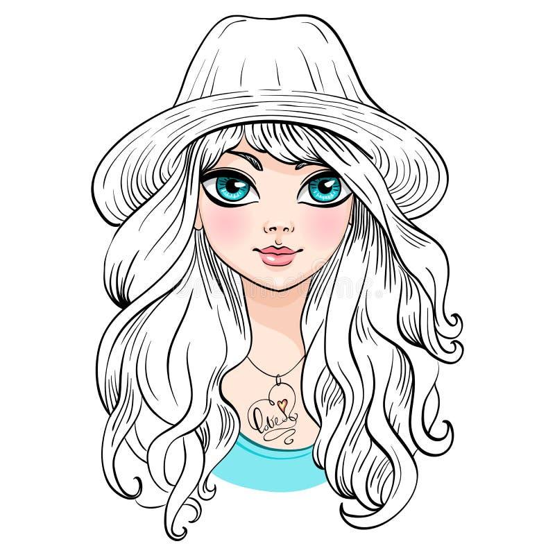 帽子的传染媒介美丽的时尚女孩 库存例证