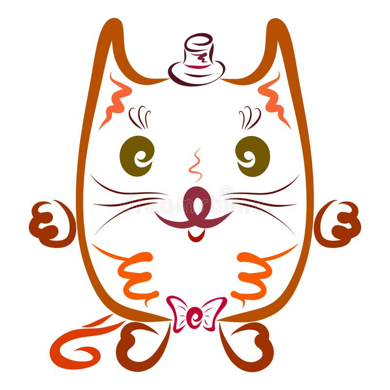 帽子的凉快的猫绅士 抽象, 敌意, 弓, 动画片, 猫, 子项, 冷静, 创造