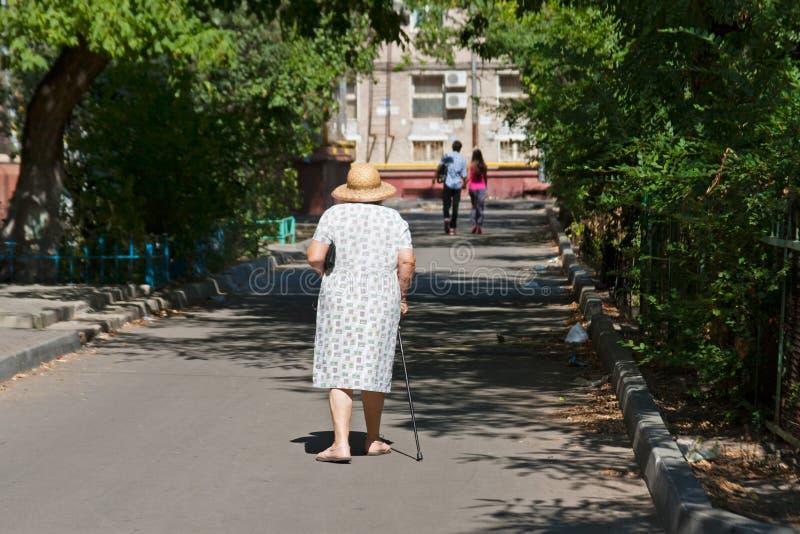 帽子的和有藤茎的步行沿着向下街道的资深妇女 免版税库存图片