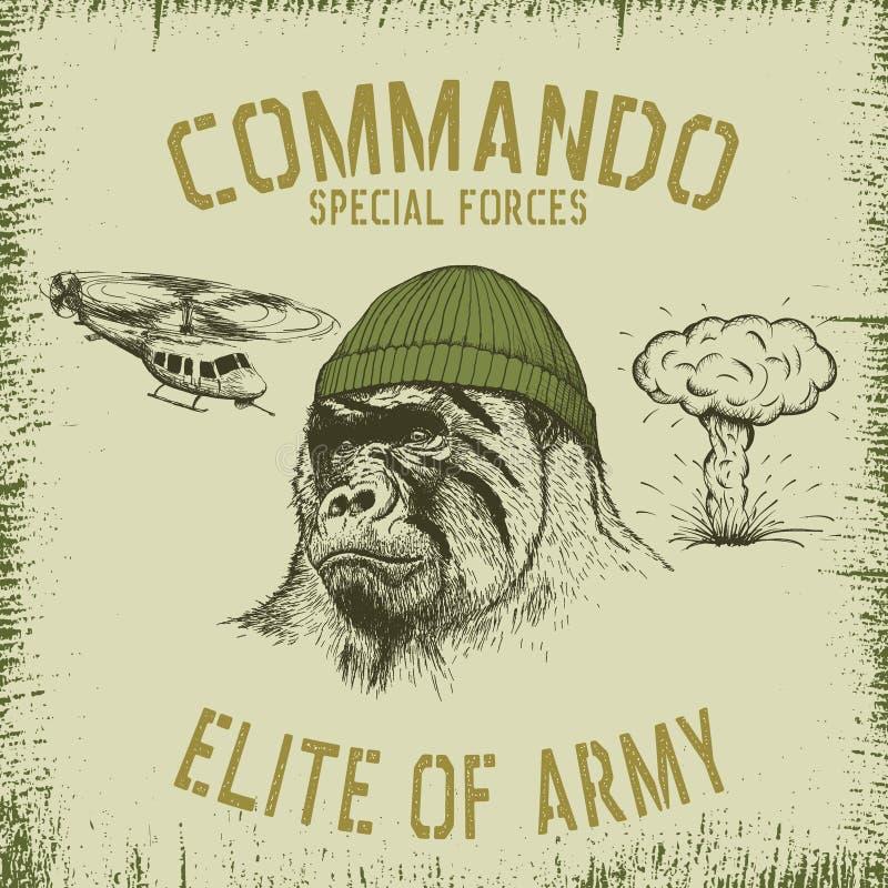 帽子的大猩猩战士 向量例证
