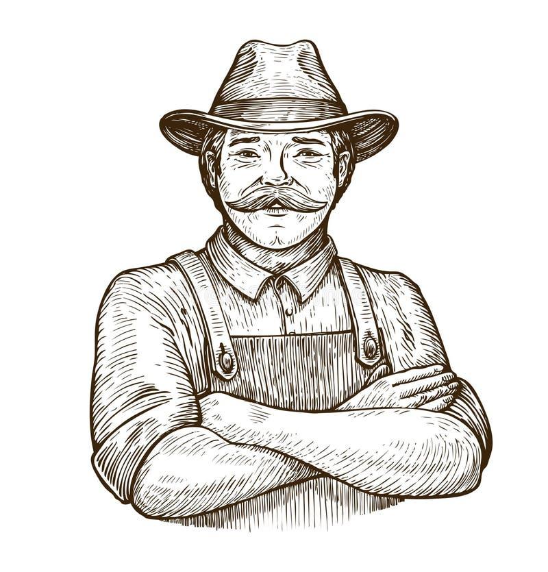 农夫帽子_帽子的愉快的农夫 葡萄酒剪影传染媒介例证