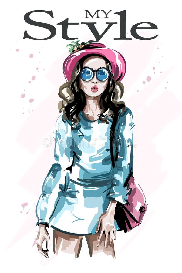 帽子的手拉的美丽的少妇 太阳镜的时髦的典雅的女孩 方式妇女 草图 库存例证