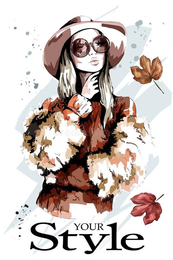 帽子的时尚夫人 美丽的纵向妇女年轻人 时髦的太阳镜妇女 向量例证