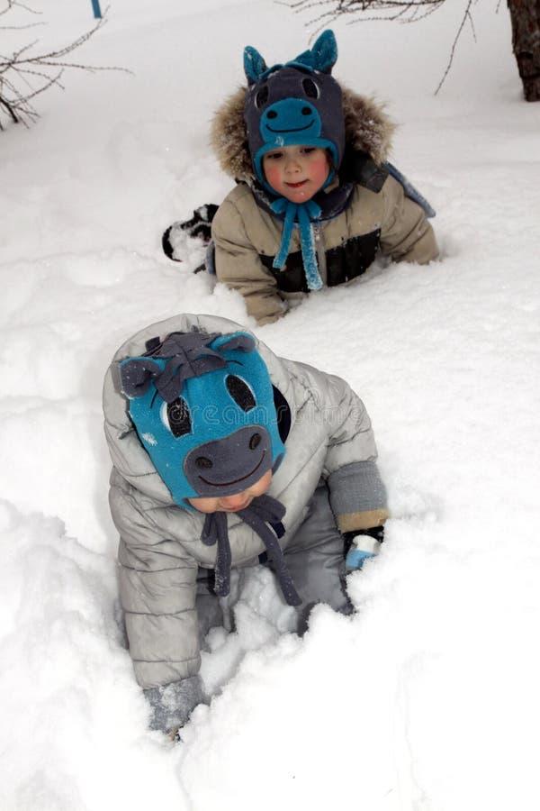 帽子的滑稽的孩子以在步行的一匹马的形式在随风飘飞的雪困住的公园 免版税库存照片