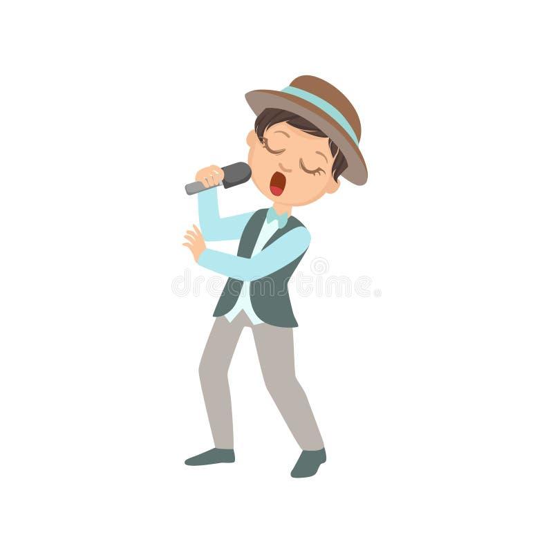 帽子的男孩唱歌在卡拉OK演唱的 向量例证