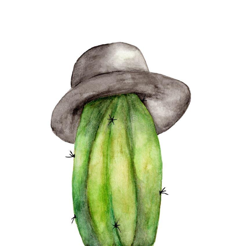 戴帽子的水彩仙人掌隔绝在白色背景 库存例证