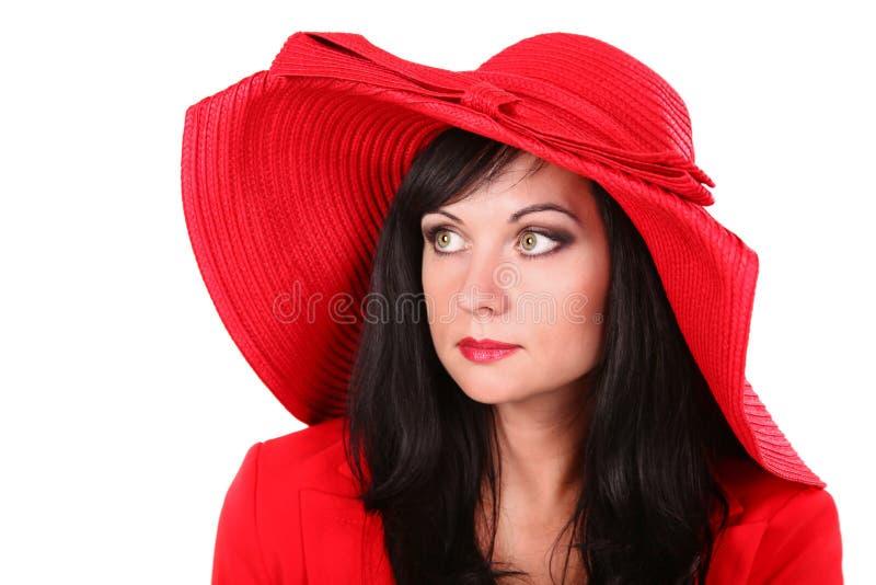 帽子红色妇女年轻人 免版税图库摄影