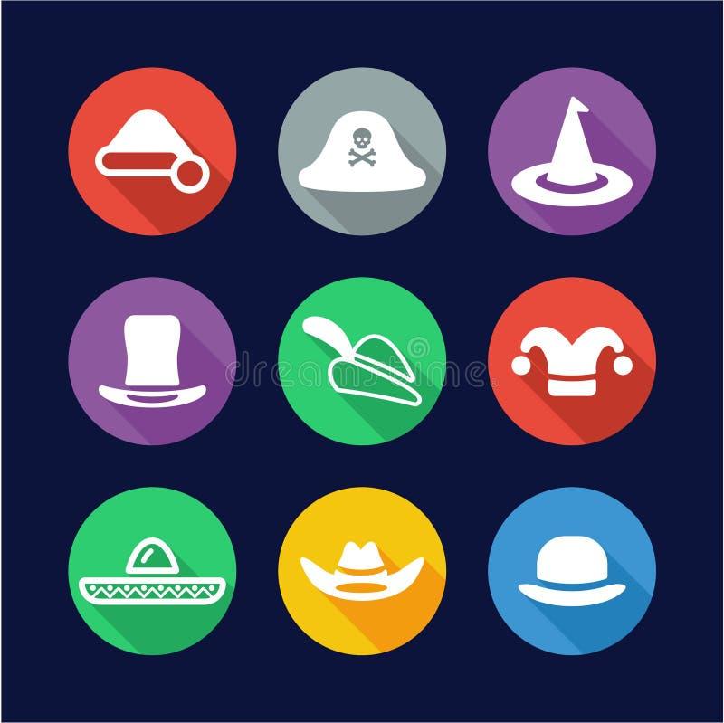 帽子象平的设计圈子设置了2 向量例证