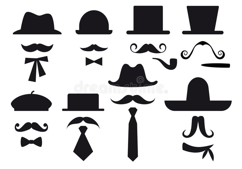 帽子髭集合向量 向量例证