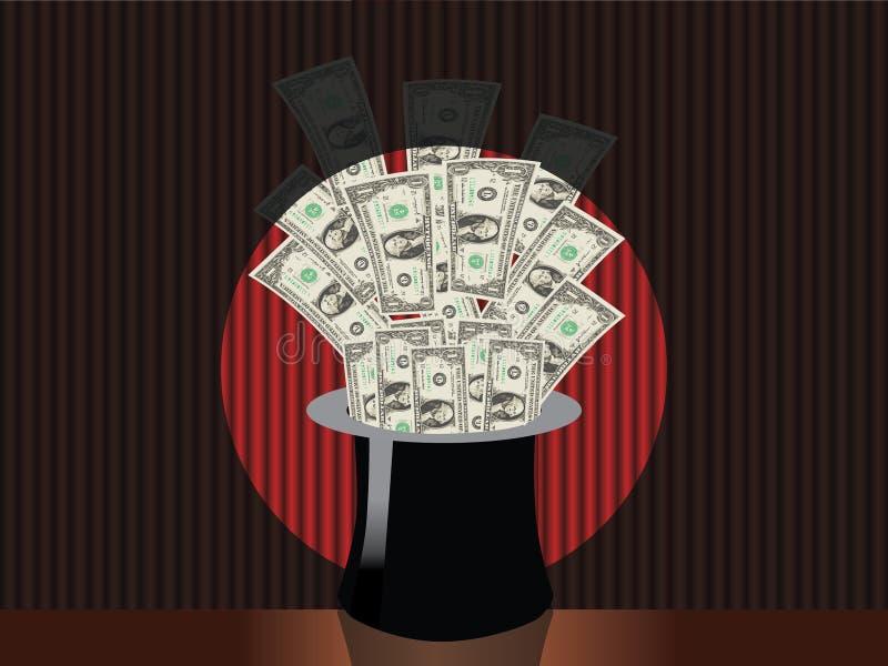 帽子魔术货币 库存例证