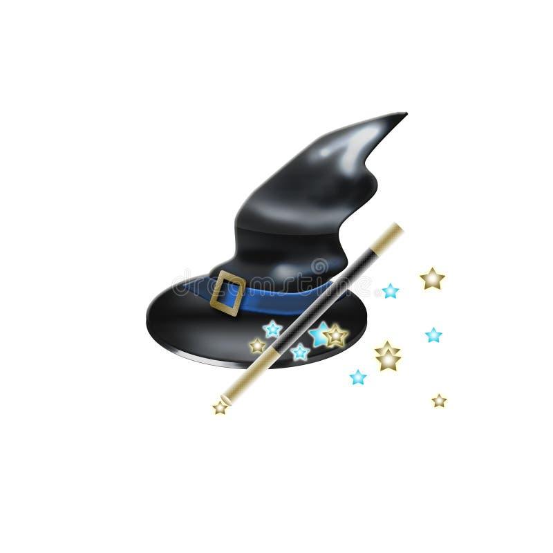 帽子魔术鞭子巫婆 皇族释放例证