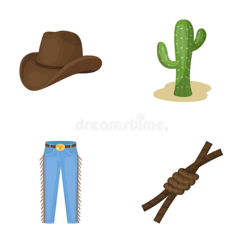 帽子,仙人掌,牛仔裤,在套索的结 在动画片样式的圈地集合汇集象导航标志储蓄例证网 向量例证