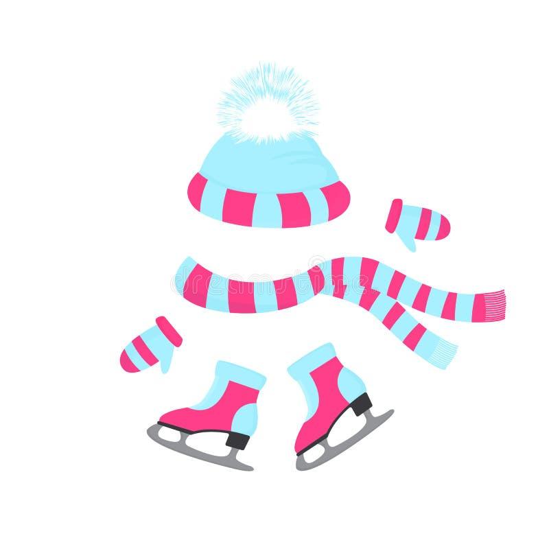 帽子,围巾,手套 与毛皮的冰鞋 冬季体育天 被编织的童帽 室外活动的冬天成套装备 向量例证