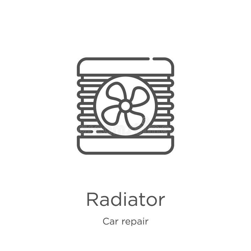 幅射器从汽车修理汇集的象传染媒介 稀薄的线幅射器概述象传染媒介例证 概述,稀薄的线幅射器 向量例证