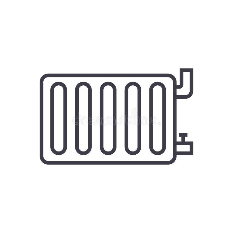 幅射器钢盘区传染媒介线象,标志,在背景,编辑可能的冲程的例证 向量例证