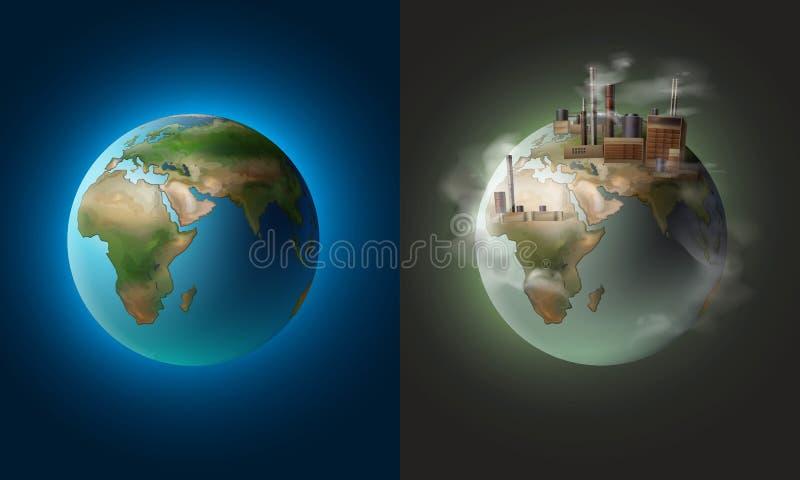 干净和被污染的行星 皇族释放例证