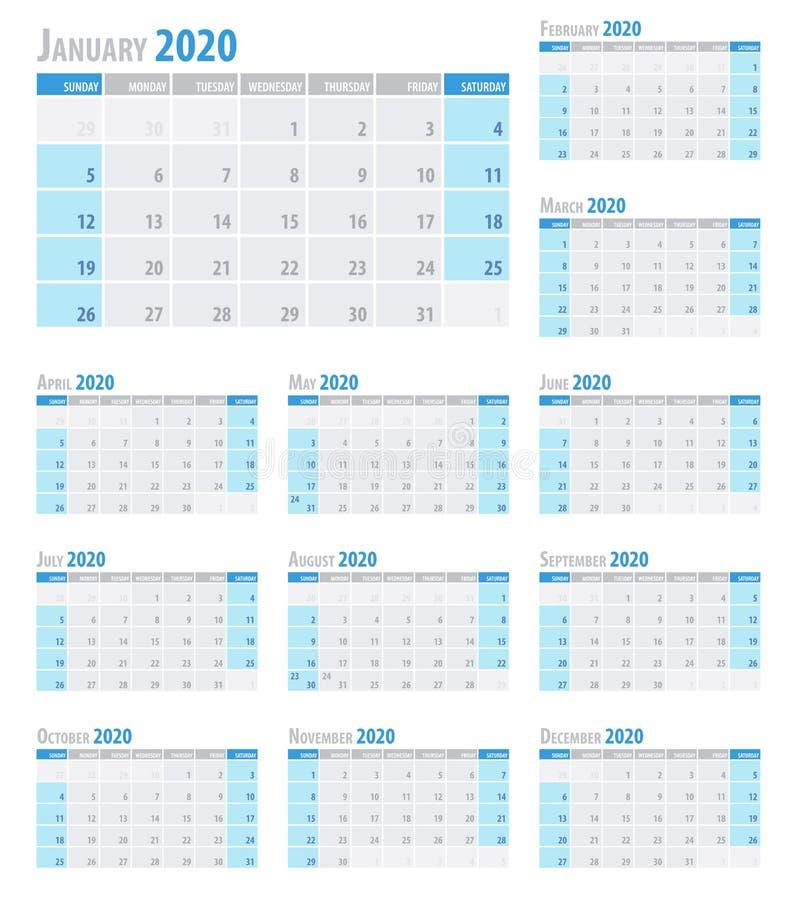 干净的最小的桌简单的样式的日历计划者2020年 也corel凹道例证向量 向量例证