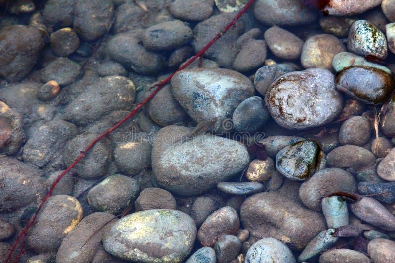干净的河从山、急流和酒吧石渣流动下来 库存照片