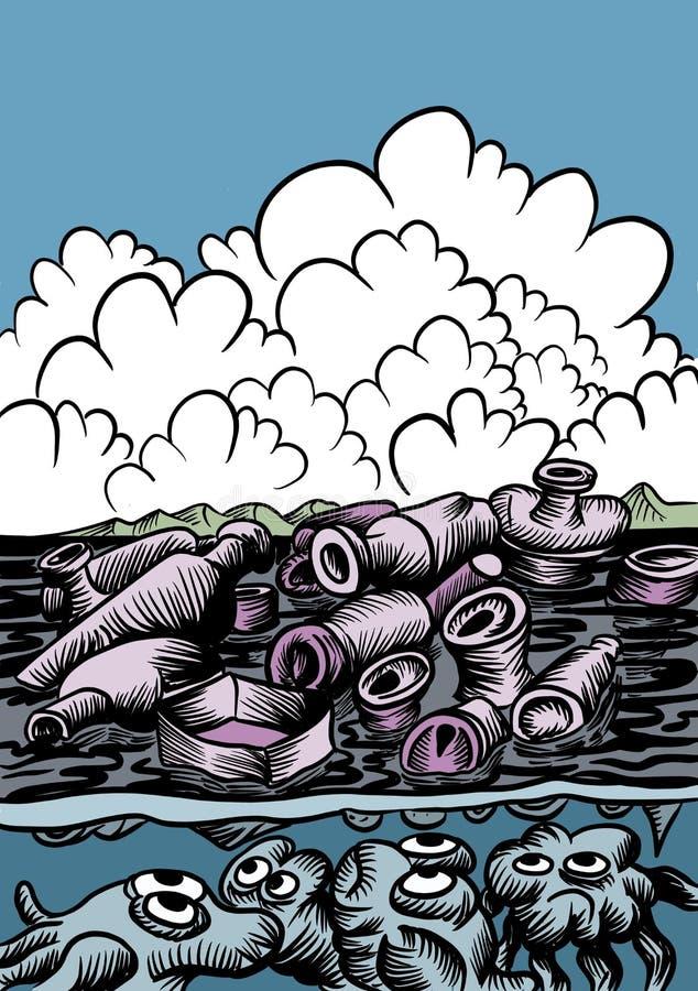 干净的海-保持它干净 向量例证